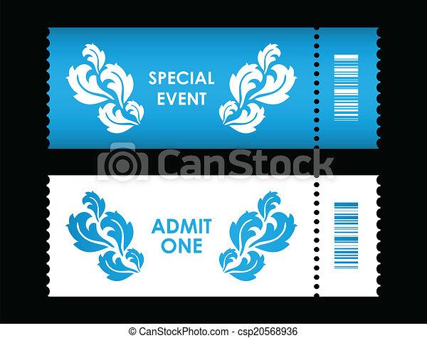 admit one ticket with special flower design - csp20568936