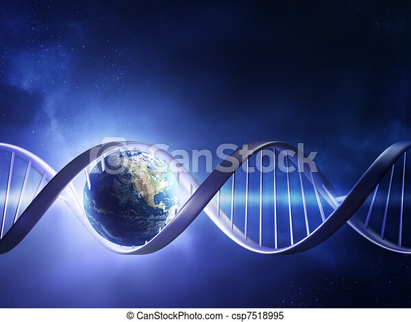 adn, la terre, incandescent, brin - csp7518995