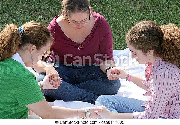 adolescent, 1, cercle, prière - csp0111005