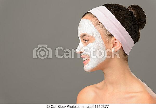 adolescent, beauté, loin, masque, regarder, produits de beauté, girl - csp21112877