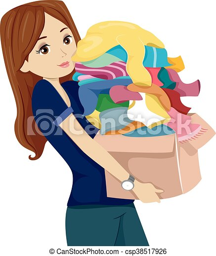 Adolescent Boite Girl Donner Vetements Boite Adolescent Entiers Illustration Donation Porter Girl Vetements Canstock
