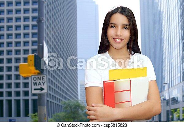 adolescent, brunette, étudiant, latin, jeune, livres, tenue, girl - csp5815823