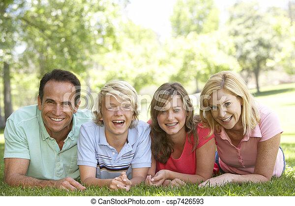 adolescent coupler, leur, herbe, enfants, mensonge - csp7426593