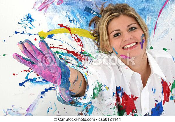 adolescent, femme, peinture - csp0124144