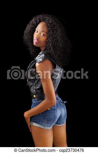 adolescent, gilet, short, américain, africaine, maigre, girl - csp23730476