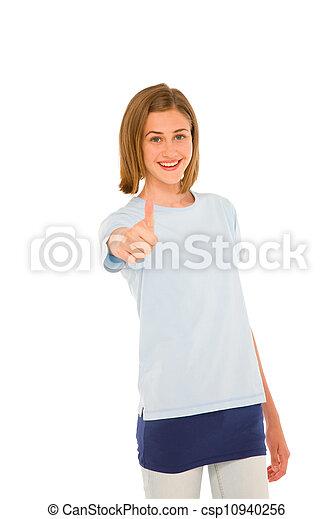 adolescent, haut, girl, pouce - csp10940256