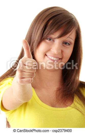 adolescent, haut, girl, pouces - csp2379400