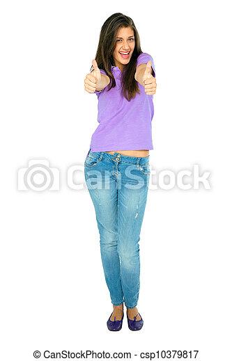 adolescent, haut, girl, pouces - csp10379817