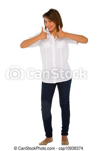 adolescent, haut, girl, pouces - csp10938374