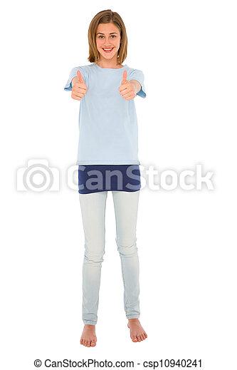 adolescent, haut, girl, pouces - csp10940241