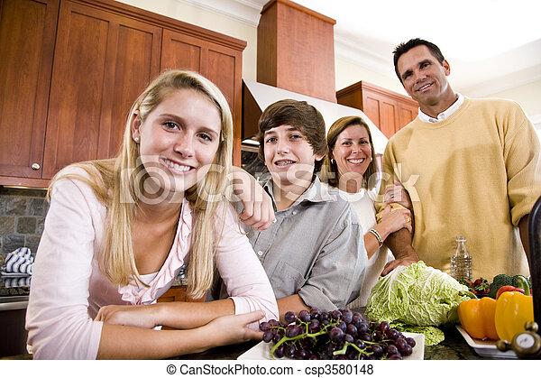 adolescent, heureux, enfants, famille, cuisine - csp3580148