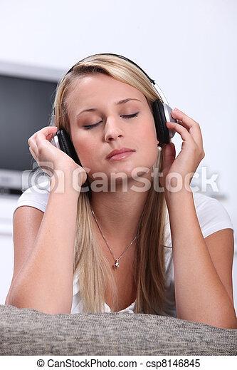 adolescent, musique, girl, écoute - csp8146845