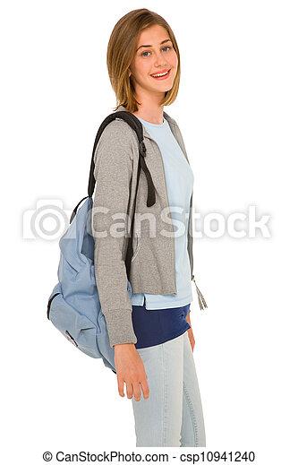 adolescent, sac à dos, girl - csp10941240