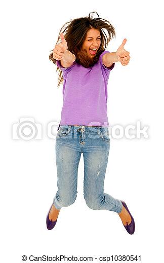 adolescent, sauter, haut, girl, pouces - csp10380541