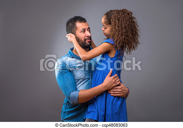 adolescent, sien, fille, père, jeune, noir - csp48083063