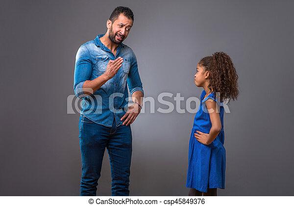 adolescent, sien, fille, père, jeune, noir - csp45849376