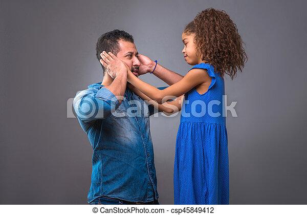 adolescent, sien, fille, père, jeune, noir - csp45849412
