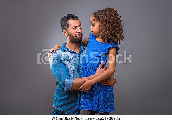 adolescent, sien, fille, père, jeune, étreindre, noir - csp51736935