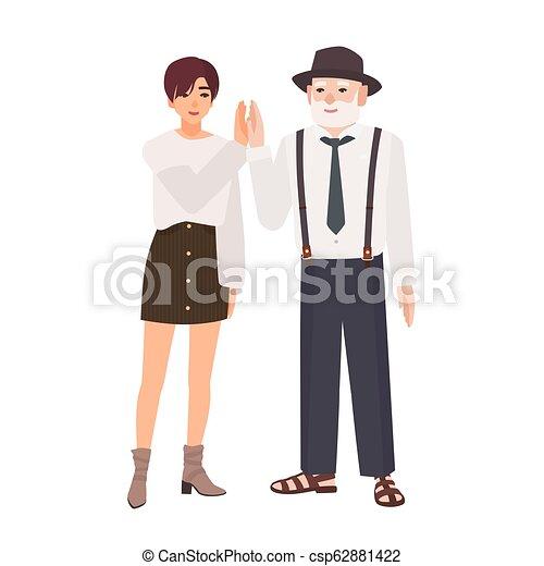 Adolescent Vieux Famille Granddad élevé Ensemble Girl Style Placer Sourire Donner Jeune Chapeau Joyeux Heureux Plat Coloré