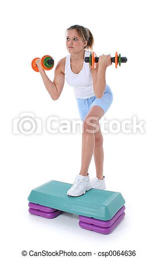 adolescente, aeróbica passo - csp0064636