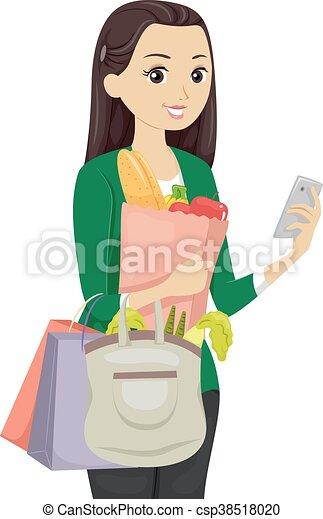 Una aplicación adolescente de compras - csp38518020