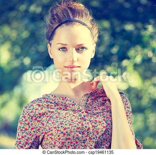 adolescente, beleza, natureza, sobre, experiência verde, menina, modelo - csp19461135