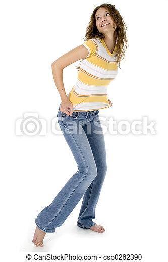 adolescente, calças brim - csp0282390