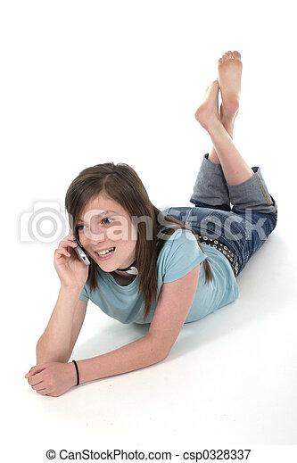 adolescente, cellphone, giovane, parlare, 7, ragazza - csp0328337