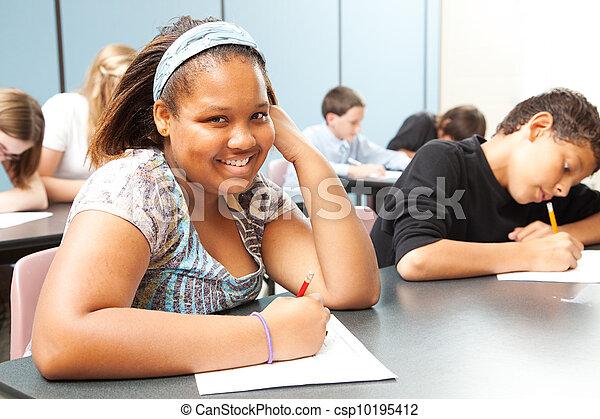 adolescente, clase, bastante, african - american - csp10195412