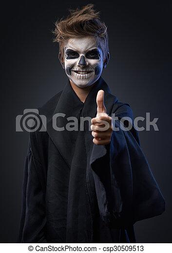 adolescente, cráneo, actuación, maquillaje, arriba, pulgares - csp30509513