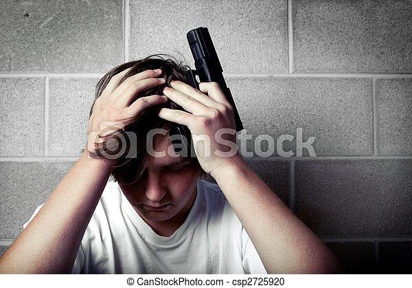 adolescente, depresión - csp2725920
