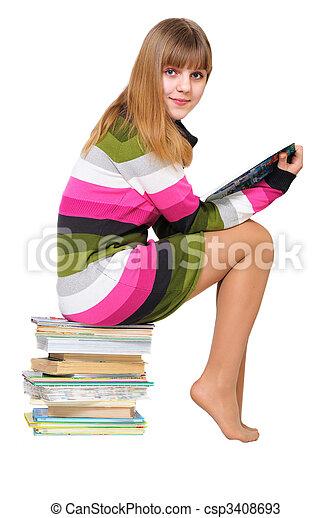 adolescente, doce, livros, pilha - csp3408693