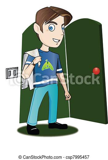 Un adolescente entrando en una habitación - csp7995457