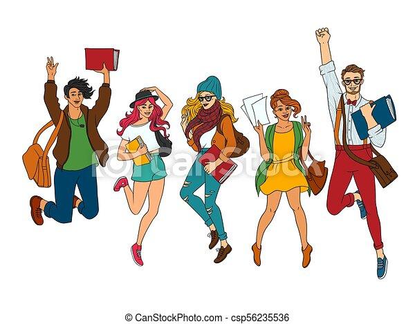Adolescente, esboço, jogo, estudantes, jovem, vetorial, pular. Esboço,  character., meninas jovens, faculdade, fun., vestido, | CanStock