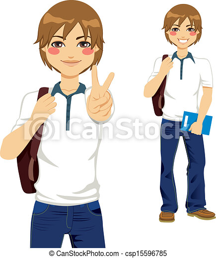 adolescente, estudante, bonito - csp15596785