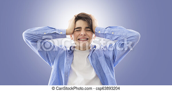 adolescente, furia, espressione, ritratto, panico, o - csp63893204