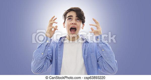adolescente, furia, espressione, ritratto, panico, o - csp63893220