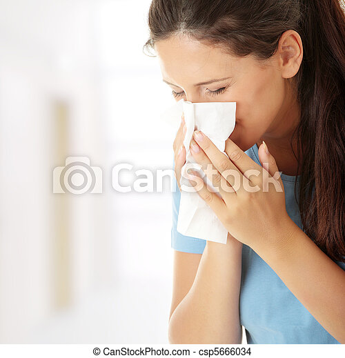 adolescente, gelado, mulher, alergia, ou - csp5666034
