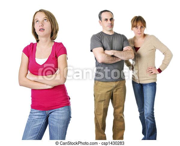 adolescente, genitori, guaio, ragazza - csp1430283