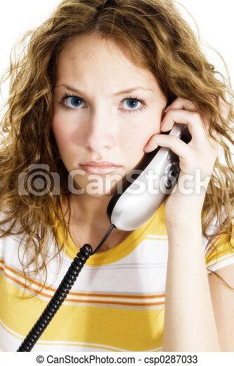 adolescente, mujer de teléfono - csp0287033