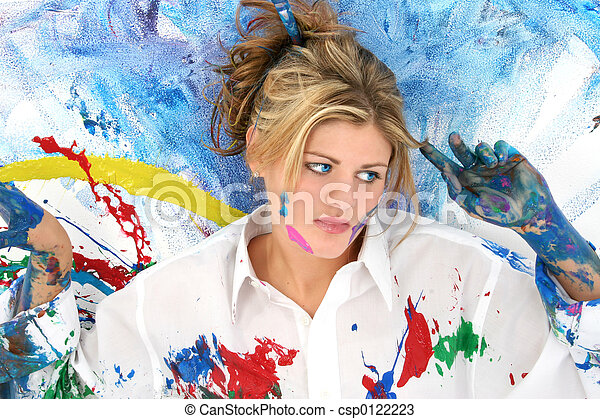 adolescente, mujer, pintura - csp0122223