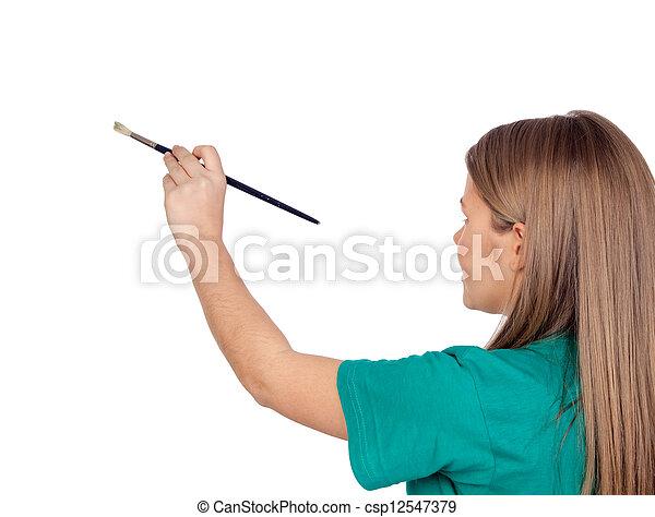 adolescente niña, pintura, algo, cepillo - csp12547379