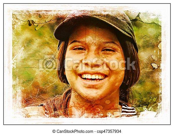 Una adolescente sonriente - csp47357934