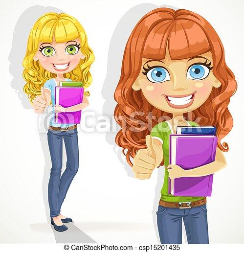 adolescente, ok, cabelo, ondulado, menina, mostra - csp15201435
