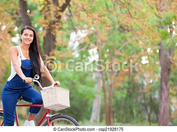 adolescente, park., vélo - csp21928175