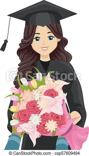 Graduada Adolescente Recibe Ilustraciones De Flores La