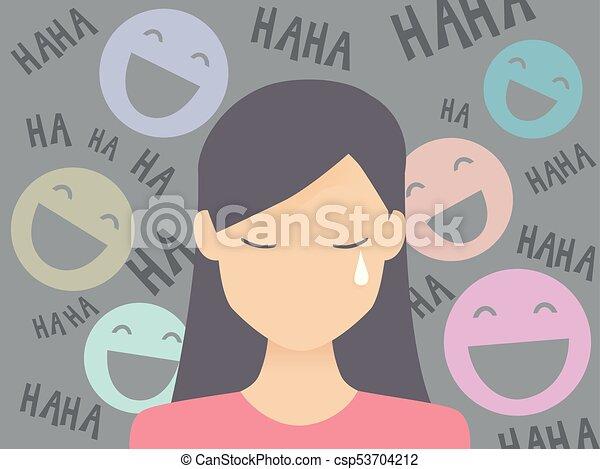 Una adolescente con una ilustración de vergüenza pública - csp53704212