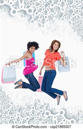 adolescentes, composto, pular, imagem, energeticamente, g, após, jovem - csp21865007