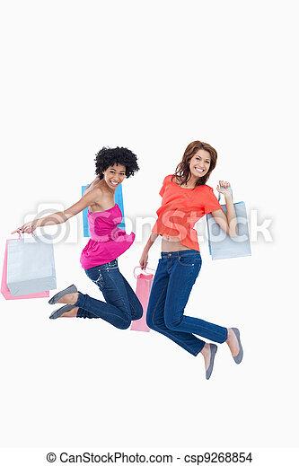 adolescentes, pular, shopping, energeticamente, após, ir, jovem - csp9268854