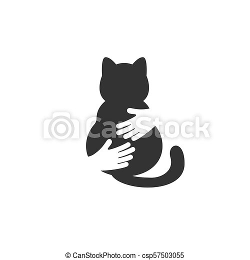 Adopt a cat logo  Cat head silhouette  Vector